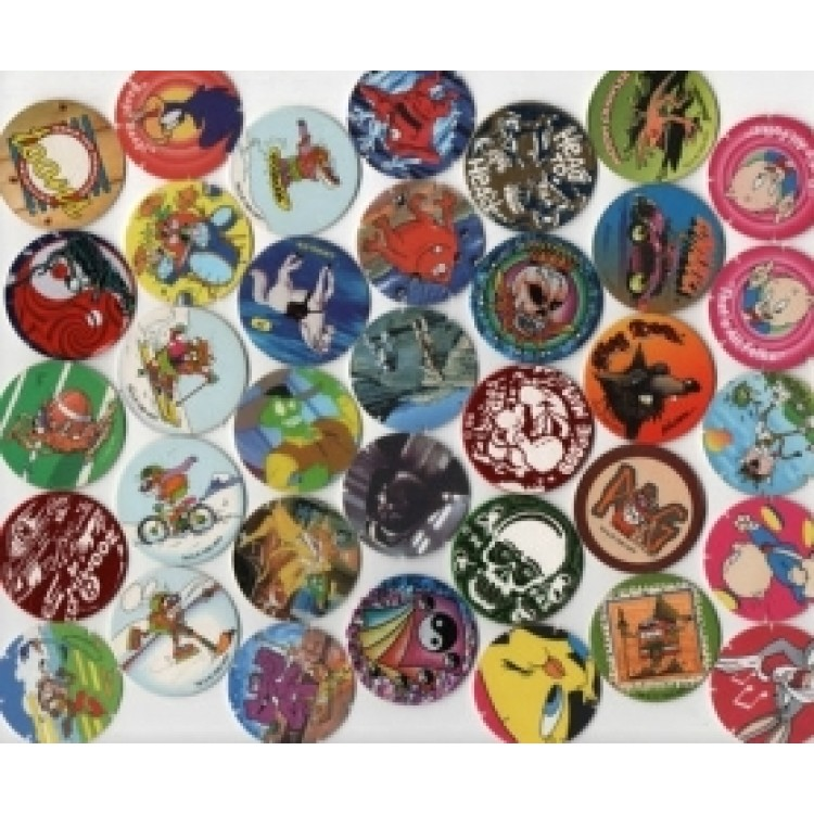 30 original pogs tazos slammers and milk caps from the 1990s for 90s decoration