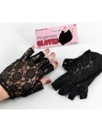 Fingerless Black Lace Gloves