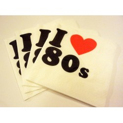 I Love 80s Napkins - Pack of 15